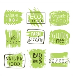 Bio Food Green Lables Set vector image vector image