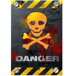 bloody grunge skull on brushed metal plate detaile vector image vector image