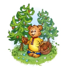 bruin bear with pine cones vector image vector image