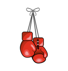 Color boxing gloves hanging icon vector