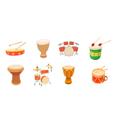 drums icon set cartoon style vector image