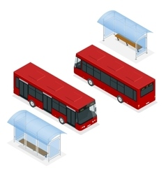 Isometric icon - bus stop and bus Flat 3d vector image