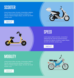 motor scooter flyers in flat style vector image