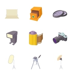 Photo shooting icons set cartoon style vector