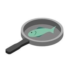Fish in the pan 3d isometric icon vector image