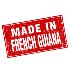 French guiana red square grunge made in stamp vector