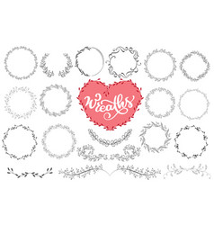 laurels and wreaths hand drawn vector image vector image