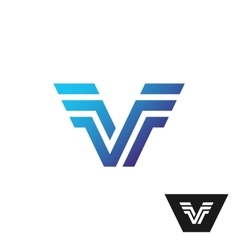Letter V tech logo with wings vector image vector image