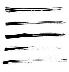 Set of ink brush strokes vector