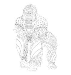 Zentangle patterned gorilla standing vector
