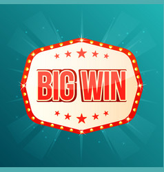 big win banner retro light frame with glowing vector image vector image