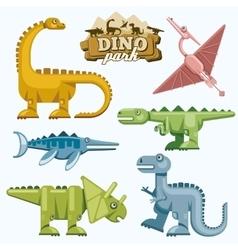 Dinosaur and prehistoric animals flat icons set vector image