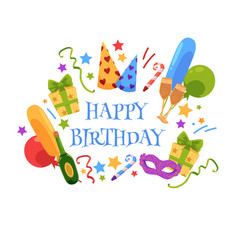 happy birthday greeting card with party objects vector image