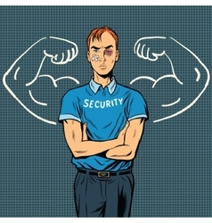 thin beaten the security guard dreams of power vector image vector image