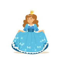 beautifull little girl princess in a blue ball vector image