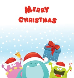 Christmas Monsters Card vector image vector image
