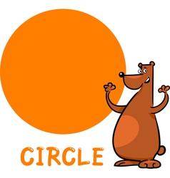 circle shape with cartoon bear vector image