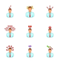 Depressed and stressed manager icons set vector image