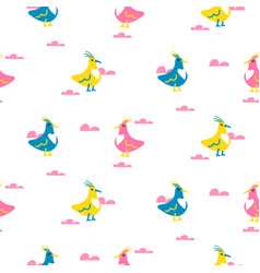 funny birds seamless pattern vector image