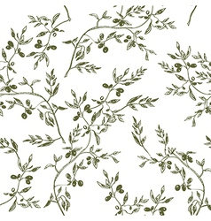 Seamless olive branch pattern hand drawn vector image vector image