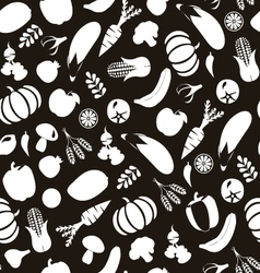 vegatables and fruits pattern Black and Wihte vector image