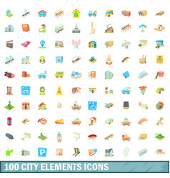100 city elements icons set cartoon style vector