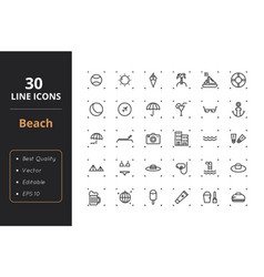 30 beach line icons vector image