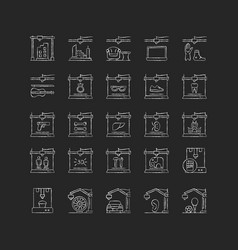 3d printing technology chalk white icons set vector