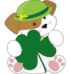 a cute puppy is wearing a green irish hat and is h vector image