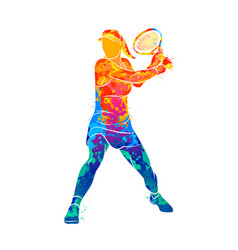 Abstract tennis player with a racket from splash vector