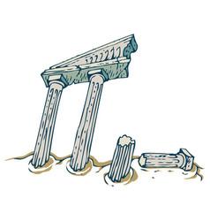 Ancient columns ruins vector