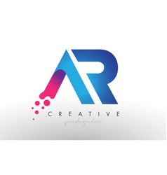 Ar letter design with creative dots bubble vector
