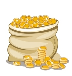 Bag full of golden coin vector