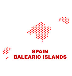 balearic islands map - mosaic of lovely hearts vector image