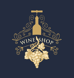 banner for wine shop with grape bottle and vector image
