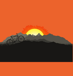 Bicycle silhouette on mountain nature landscape vector