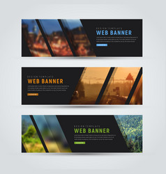 Black banner of standard size with diagonal vector