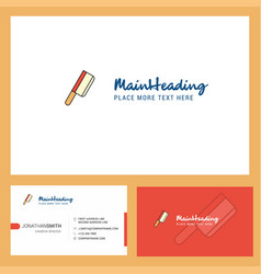 butcher knife logo design with tagline front and vector image