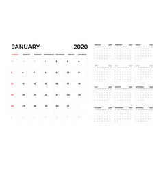 Calendar 2020 template calendar planning week vector