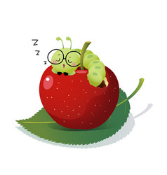 Cartoon caterpillar sleeping on an apple vector