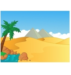 Cartoon of small oasis in the desert vector