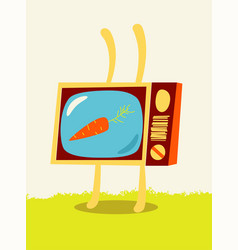 cartoon tv rabbit with carrot on screen vector image