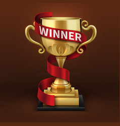 champion golden trophy cup with red winner ribbon vector image