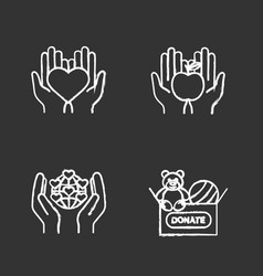 charity chalk icons set vector image