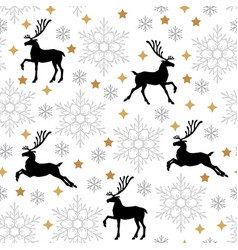 christmas pattern seamless with deer and vector image
