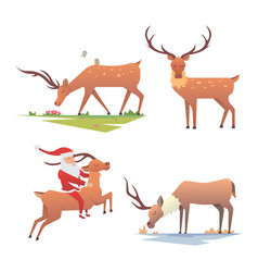 christmas reindeer holiday mammal deer xmas vector image