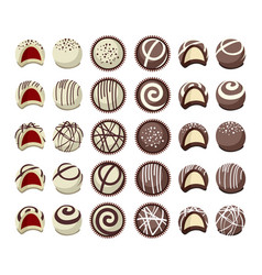 Collection chocolate candies vector
