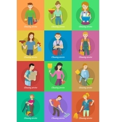 Collection of Member of the Cleaning Service Staff vector image