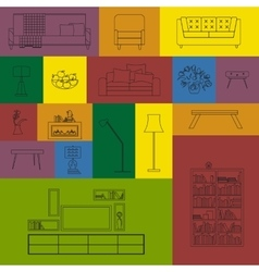 Collection of modern outline furniture icon vector