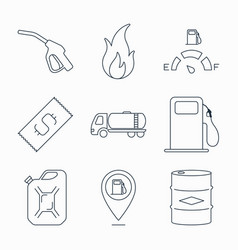 collection of outline fuel station icons vector image